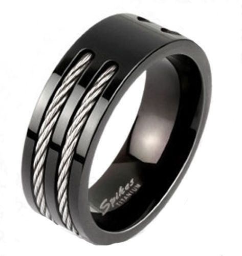 Popular Beautiful two tone ion plated black titanium ring with dual cable inlays An awesome
