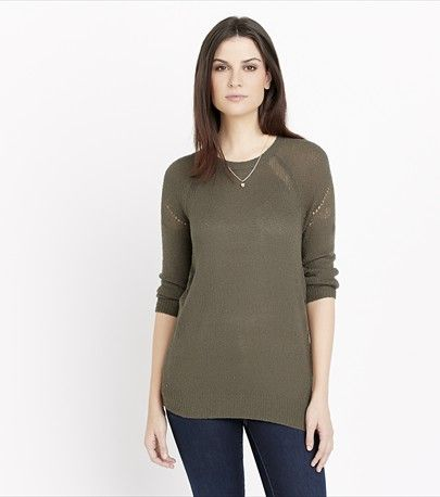 Crewneck Sweater With Pointelle Details