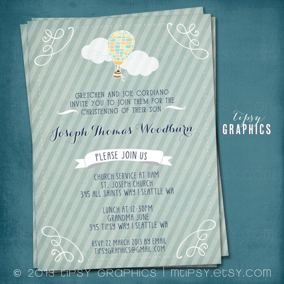 Hot Air Balloon. Sweet Baptism Christening Dedication Invitation or Announcement by Tipsy Graphics.