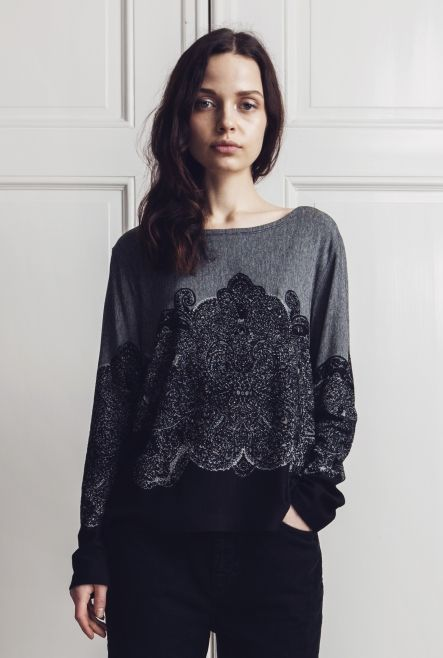 SWEATER DICE ORNAMENTAL GRAY MELANGE & BLACK in the group New in at Rodebjer Form AB (1240064)
