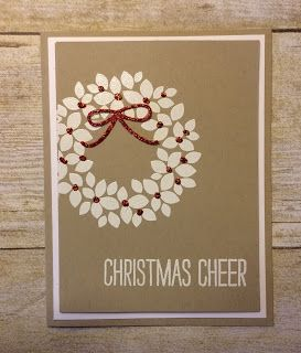 handmade Christmas card from Kards by Kadie ... kraft with vanilla and pops of red ... Wondrous Wreath ... Stampin' Up!