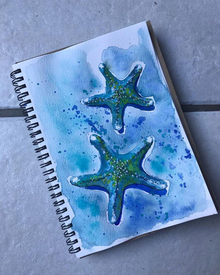 "12 Likes, 1 Comments - Maybloom Studio (@maybloomstudio) on Instagram: ""24/365 The Moody Blues! #365daysofart #watercolour #sticktoit #schmincke #starfish #moodyblues…"""