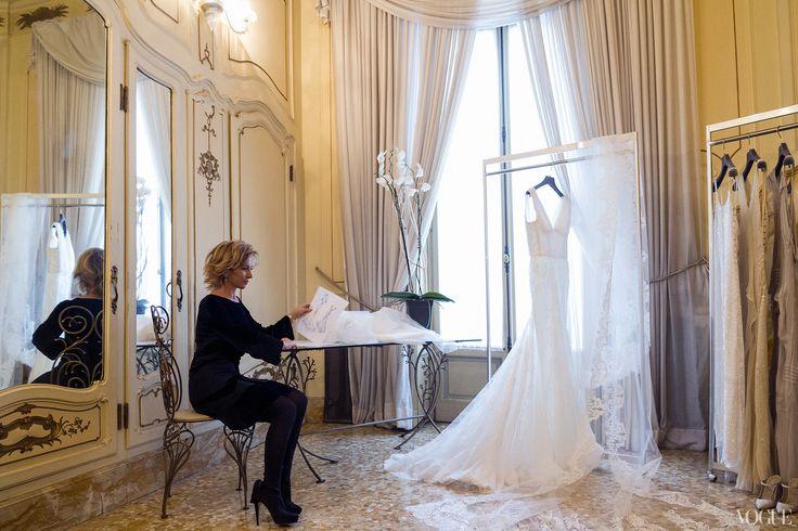 Alberta Ferretti waits for Lake to see the dress. Candice Lake and Didier Ryan's wedding Photo: Liz Ham