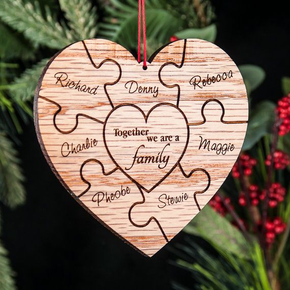 Personalized family name ornament. This ornament features an engraved puzzle design to display the names of your family engraved in script, with the
