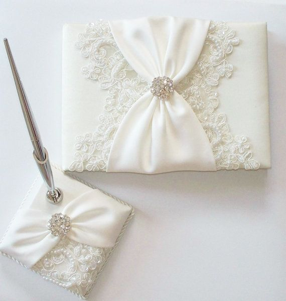 Wedding Guest Book and Pen Set with Beaded Alencon by JLWeddings, $114.50
