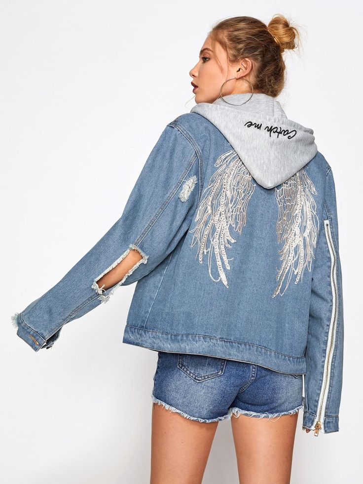 #ROMWE - #ROMWE Wings Embroidered Back Hooded Denim Jacket - AdoreWe.com