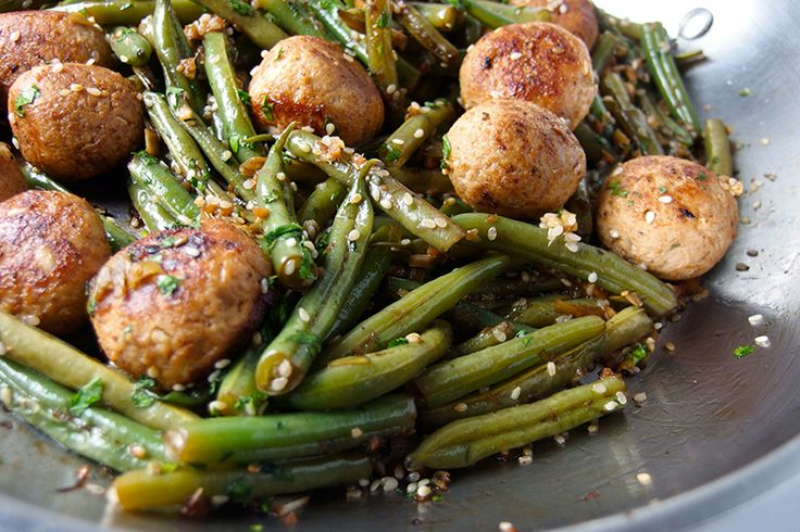 Our exciting new green bean recipe takes this dinner staple to a new level by throwing in some meatballs and Asian flavors.