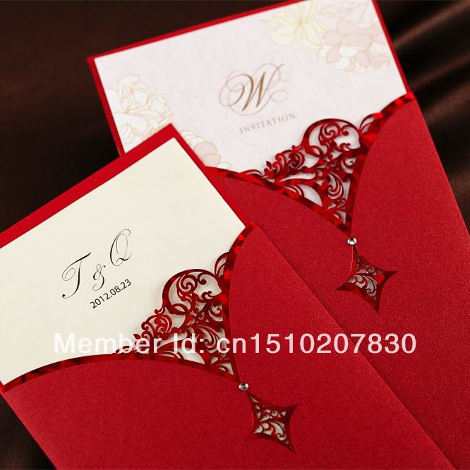 30pcs red chinese hollow elegant blank laser cut lace for Blank chinese wedding invitations