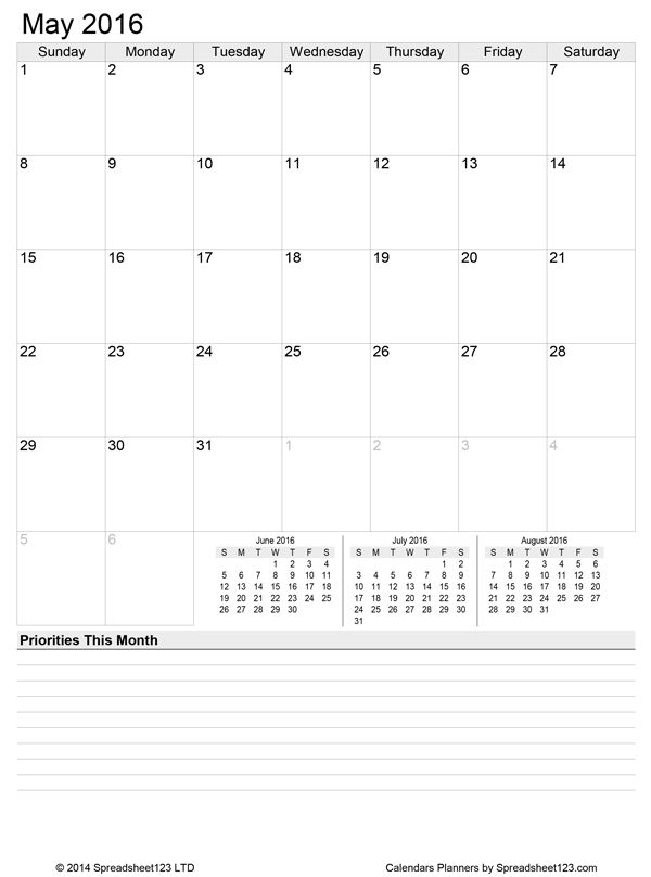 month schedule template