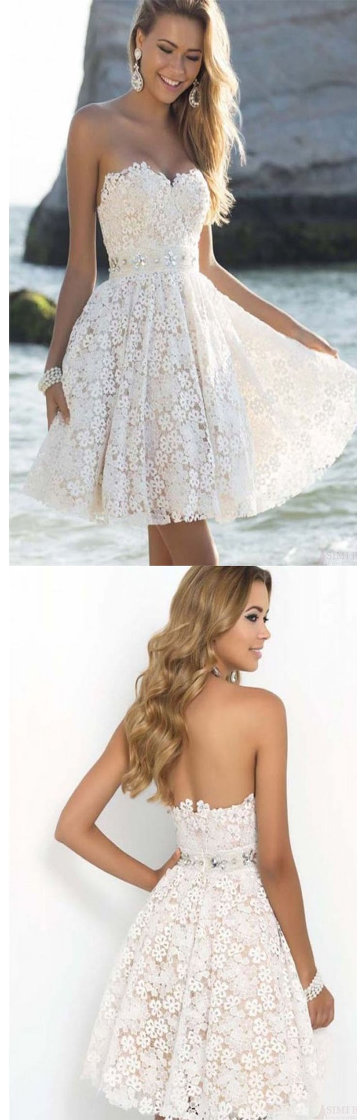 Charming Sweet Strapless Knee Length Short Homecoming Prom Party Dresses                                                                                                                                                     More