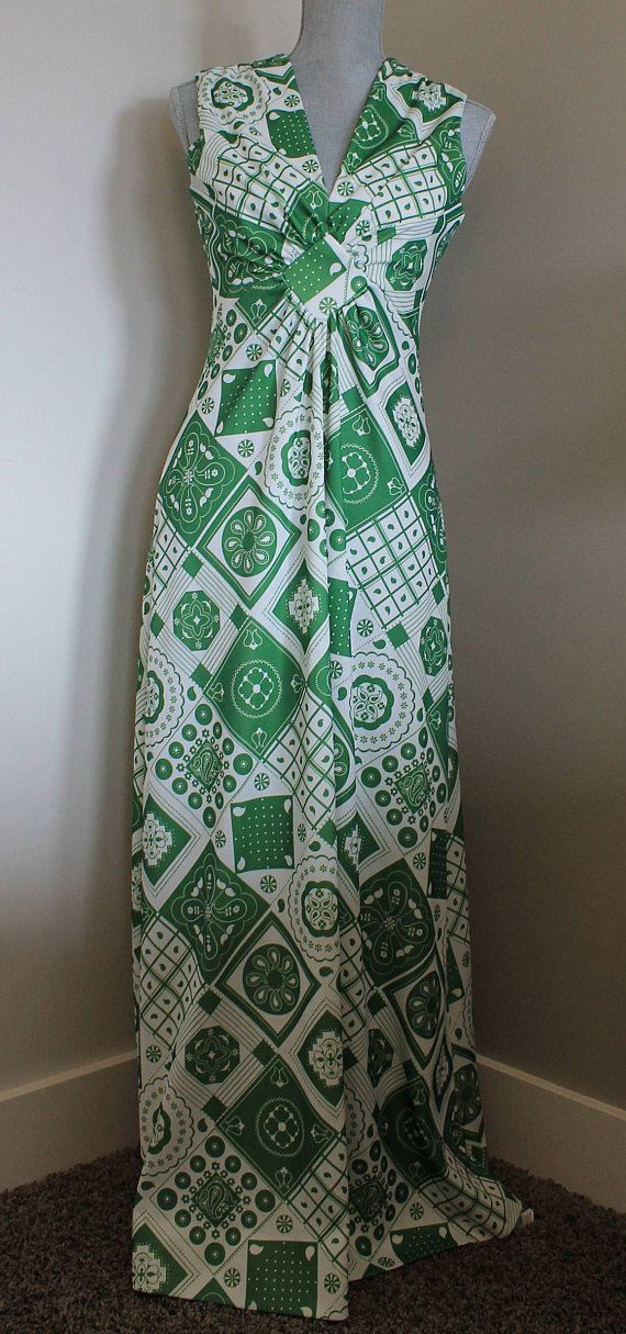 Vintage Green and White Gown  Funky Pattern Polyester Dress