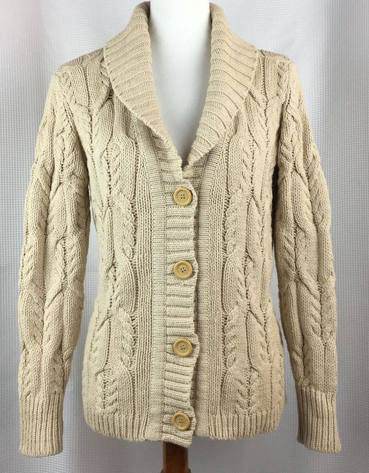 Dress Barn Petite Womens Cardigan Sweater Size Large Beige Fishermen Cable Knit #Dressbarn #Cardigan #Work