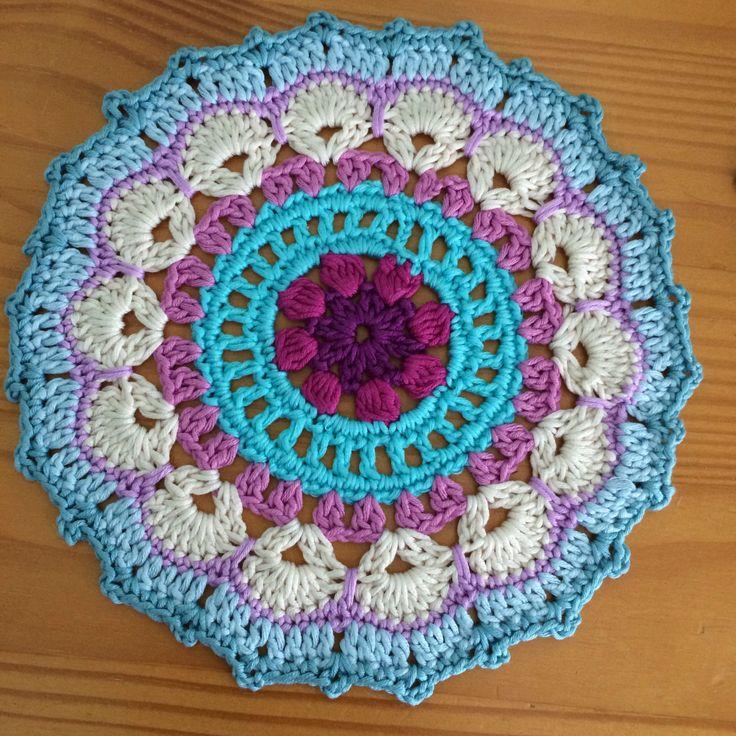 Crochet Mandala Mat beautiful handmade traditional mat by SewHappyCreative on…