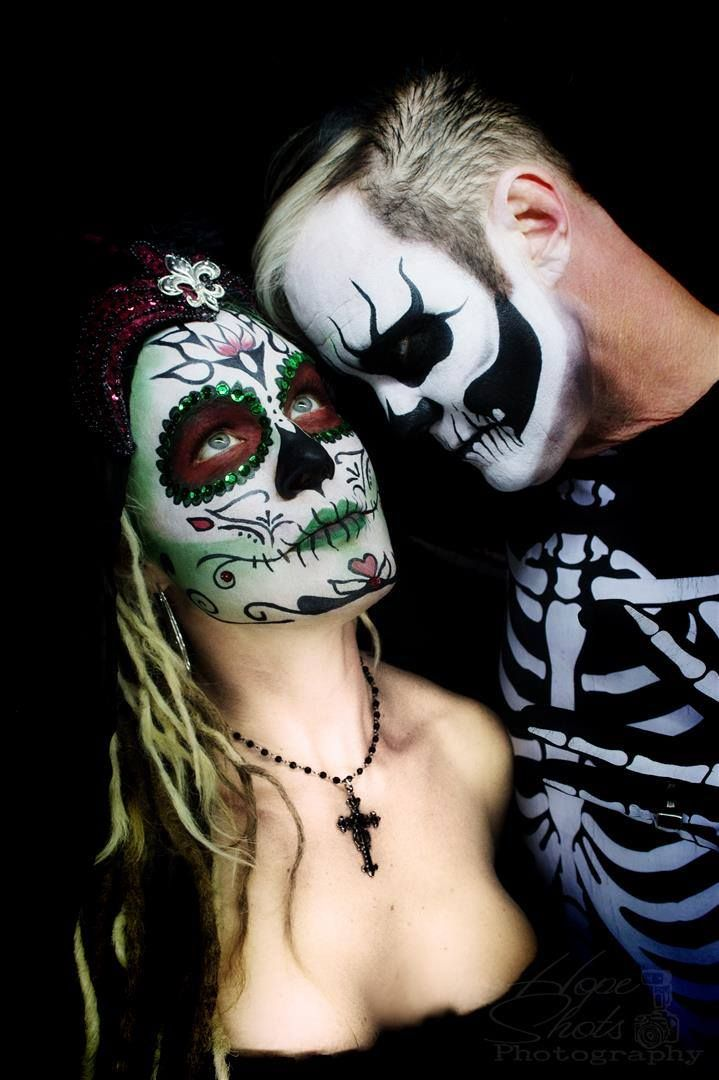Hope Shots Photography Artist Unique Irish Model Jeremy G, and Liz H. Until Death do us part. Sugar Skull Face painting