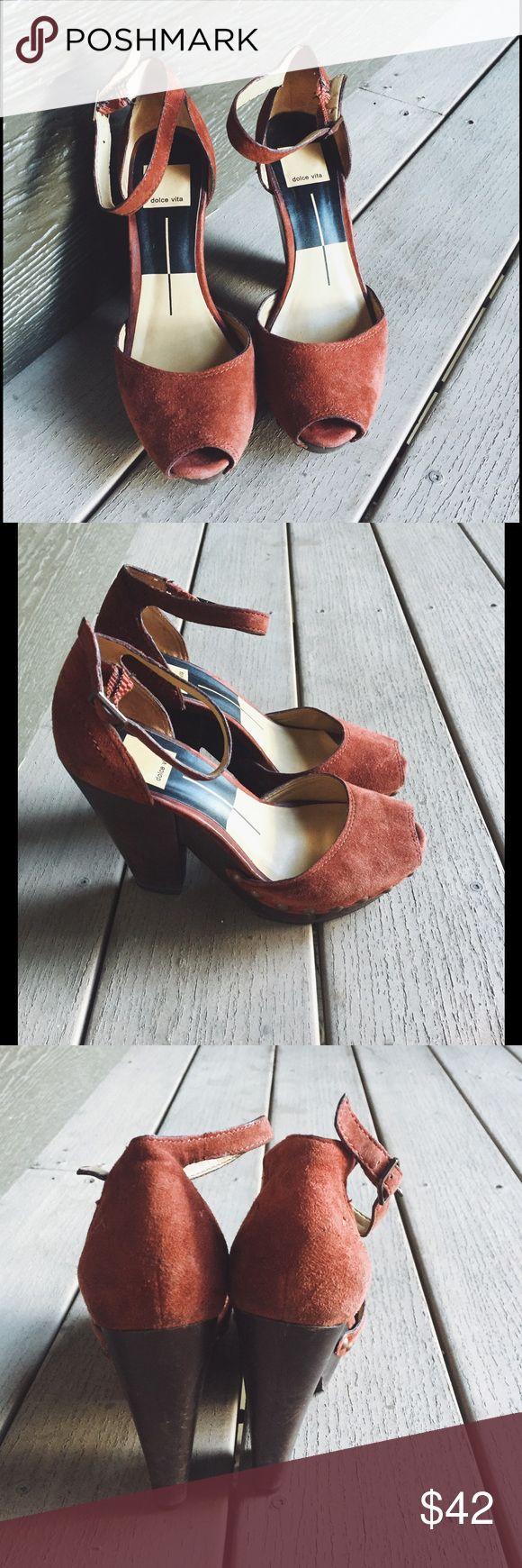 Selling this Dolce Vita Huxley suede rust wood platform heels on Poshmark! My username is: wanderlust83. #shopmycloset #poshmark #fashion #shopping #style #forsale #Dolce Vita #Shoes