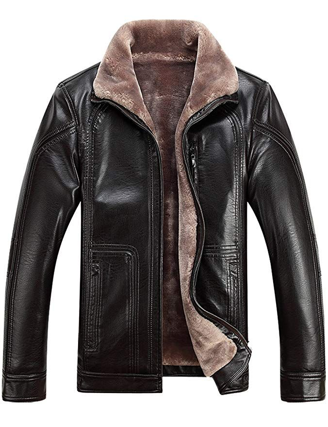 3e6f252a83a1  Affiliate  Tanming Men s Winter Warm Leather Coat Real Fur Hooded Leather  Jacket at Amazon Men s Clothing store