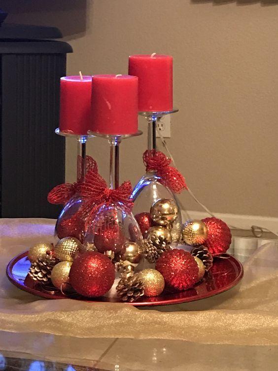 Sparkling Baubles Wine Glass Centerpiece Christmas
