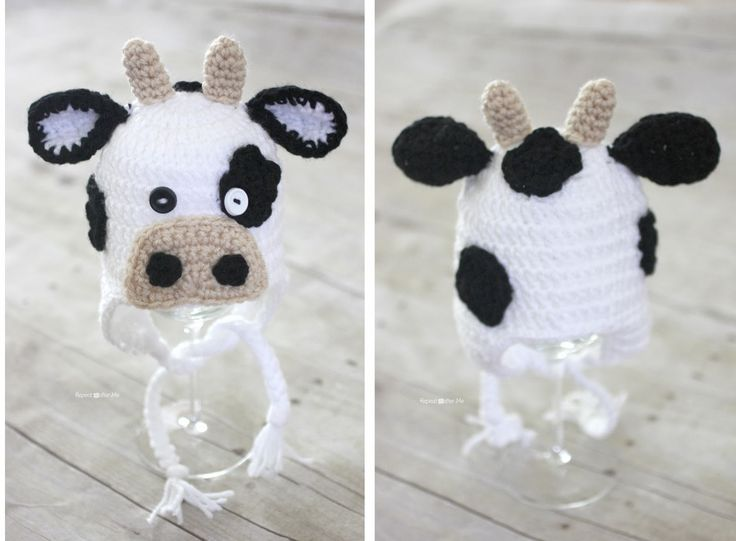 Crochet Cow Hat Pattern - Repeat Crafter Me