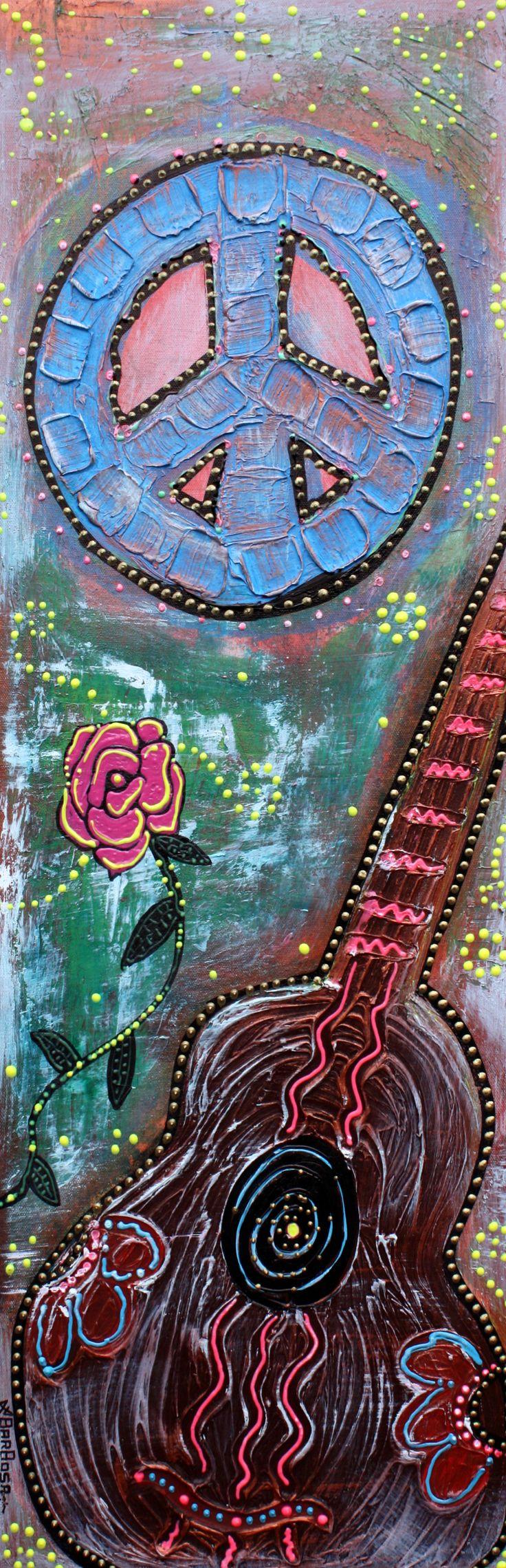 Bohemian Peace 1 by Laura Barbosa - Mixed Media ART - Canvas Guitar