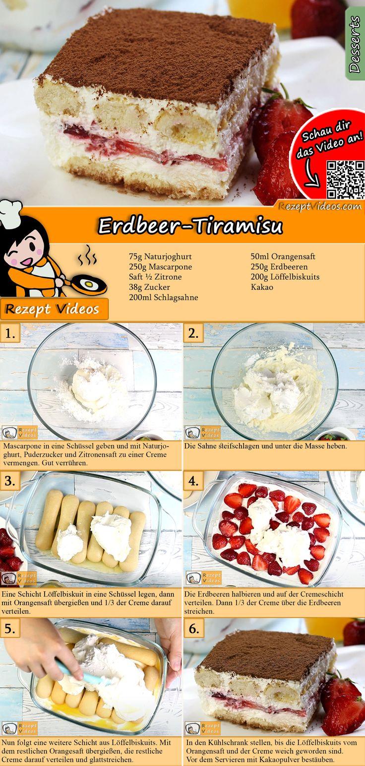 Tiramisu anders. Cremig mit frischen Früchten … das ist Erdbeertörtchen …   – KUCHEN OHNE BACKEN Rezepte mit Videos, mit Rezeptkarten