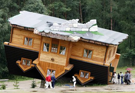 The Upside-Down House, in Szymbark (Poland). The house was created by Daniel Czapiewski to describe the former communist era and the present times in which we live.