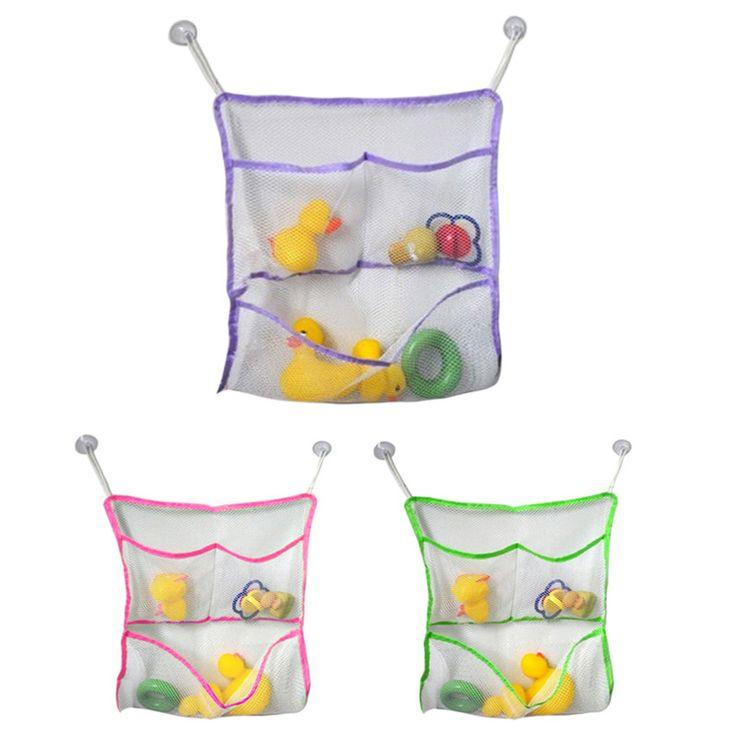 43*42CM Baby Bath Tub Toy Tidy Storage Suction Cup Bag Mesh Bathroom Toys Organiser Net