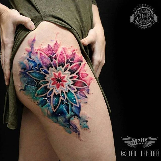 Image result for back of thigh tattoo mandala watercolor