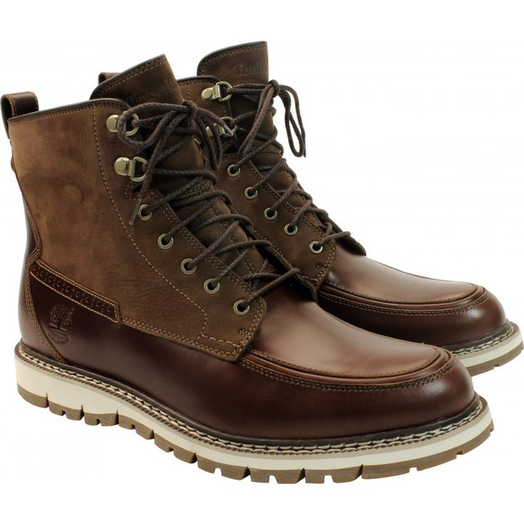 Timberland Men's Britton Hill Waterproof Moc Toe Boot in Chestnut. $199.95  | Waterproof Timberland Boots