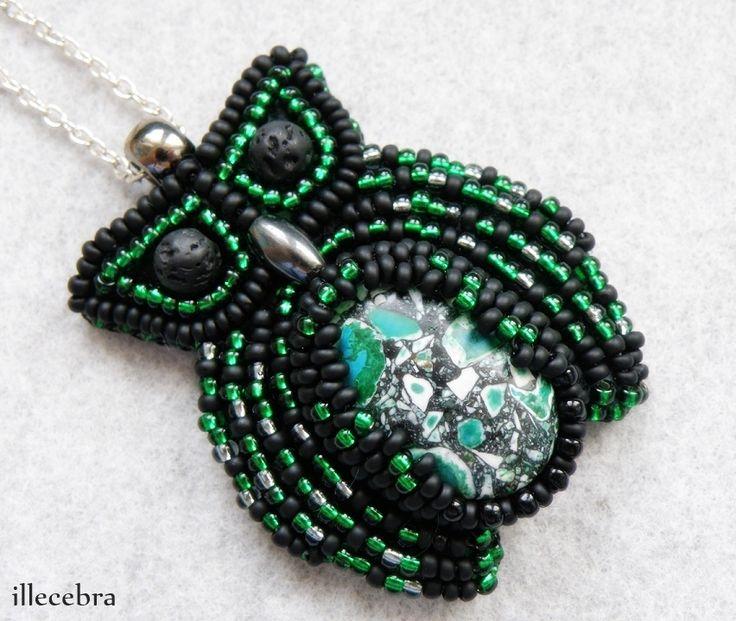 Her name is Urszula.  #beadwork #beadembroidery #illecebra #owl