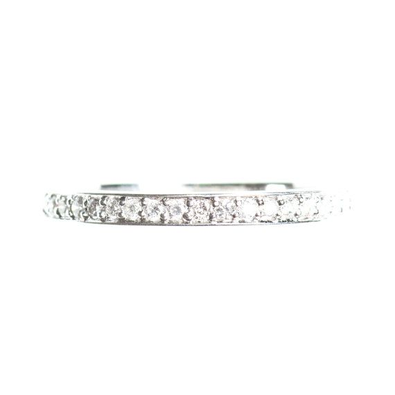CHOOSE your 14k GOLD COLOUR  Half eternity ring pave white or
