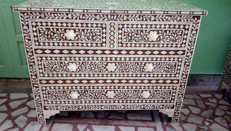 bone inlay chest of 4 drawers brown