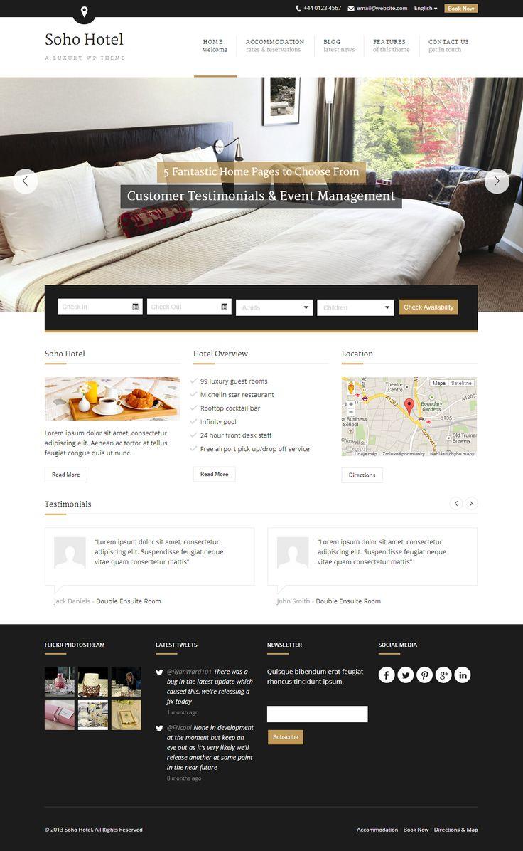 Soho Hotel - Responsive Hotel Booking WP Theme #hotel #web #reservation