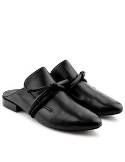 Black Leather Louie Mules
