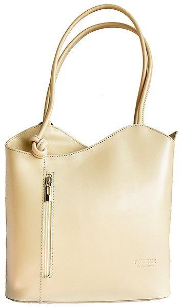 Multi-Way Cream Leather Shoulder Bag/Backpack