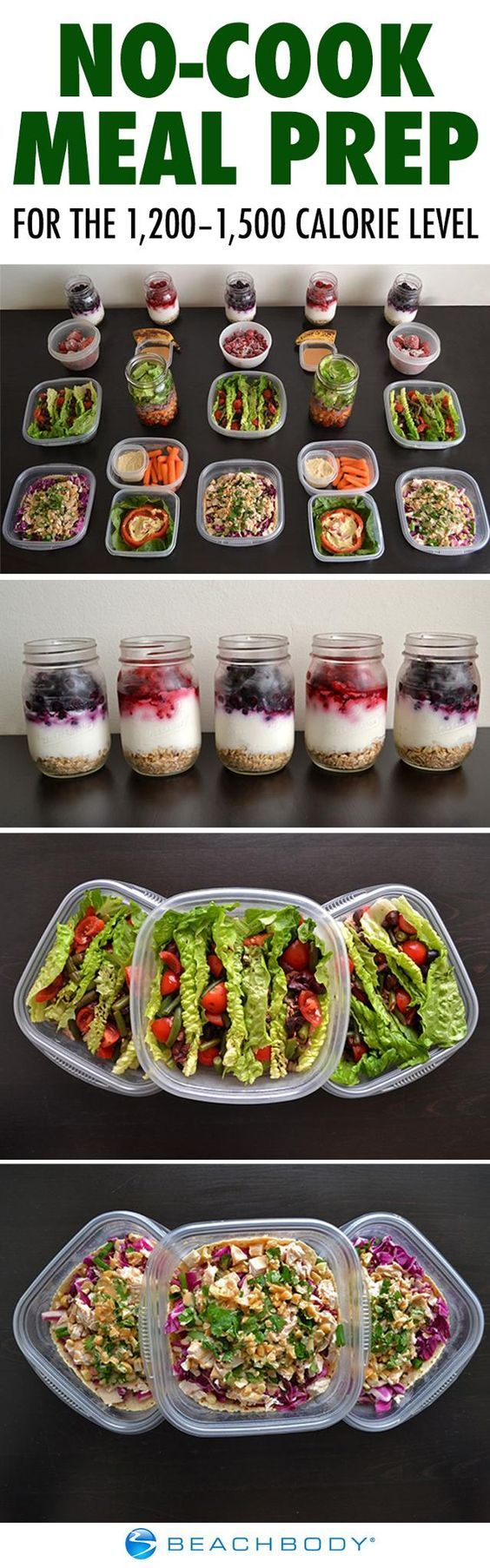 When it's too hot to turn on the stove or oven, a no-cook meal plan is the perfect way to prep your meals for the week. Get a complete guide for the 1,200 to 1,500 calorie level here! // meal prep // meal prep monday // meal planning // summer recipe