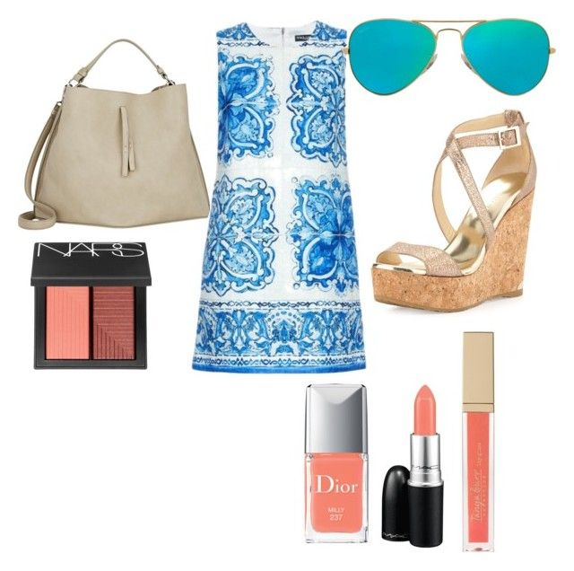 """Summer day dress"" by taniamin on Polyvore featuring Dolce&Gabbana, Jimmy Choo, Ray-Ban, Maison Margiela, MAC Cosmetics, Christian Dior, NARS Cosmetics, coral, rayban and corksandals"