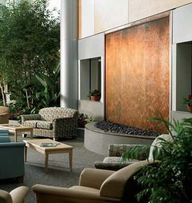Interior Design, Copper Waterfalls Fountains Residential Water Features