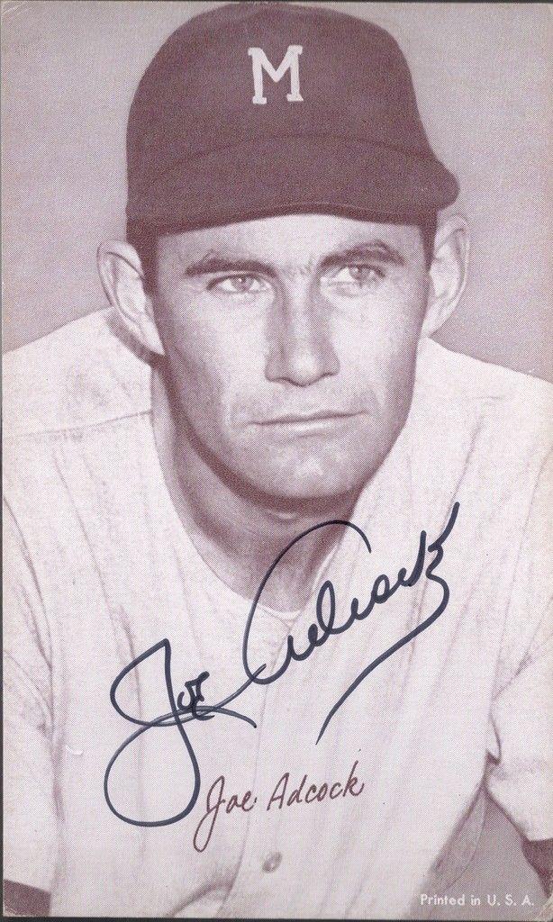 1940s Exhibit Card Joe Adcock autograph   JSA