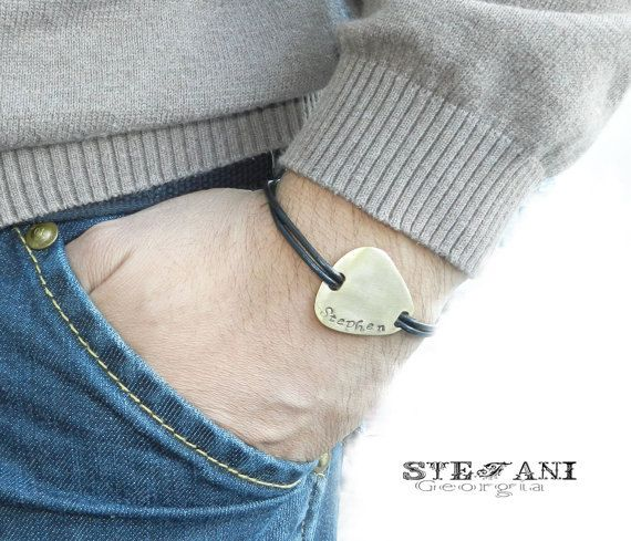 Personalized brass guitar pick bracelet. Men's leather bracelet.Custom hand stamped bracelet. on Etsy, $30.90