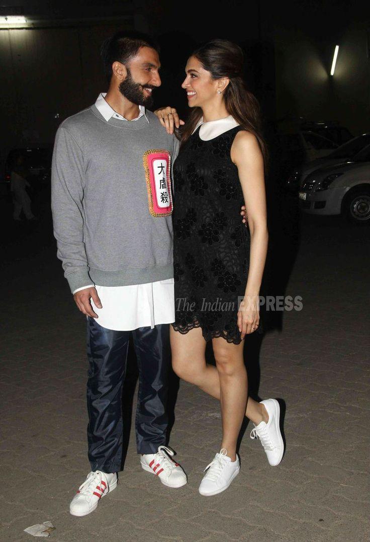 Ranveer Singh and Deepika Padukone outside a film studio.