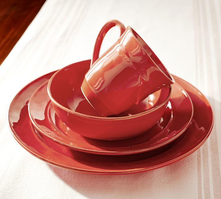 Pottery Barn Cambria Soup Bowl, Set Of 4 - Red