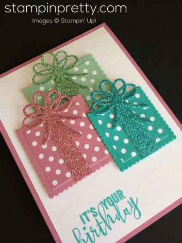 Balloon Adventures & Layering Squares birthday card.  Mary Fish, Stampin' Up! Demonstrator.  1000+ StampinUp & SUO card ideas.  Read more https://stampinpretty.com/2017/03/birthday-card-with-a-sweet-trio-of-gifts.html