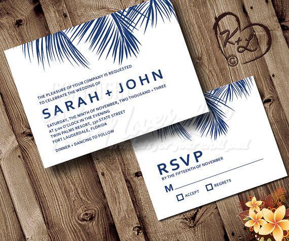 Printable Palm tree Frond Wedding Invitation Set Beach Destination Tropical Hawaii Bridal Engagement RSVP invite custom Blue Modern