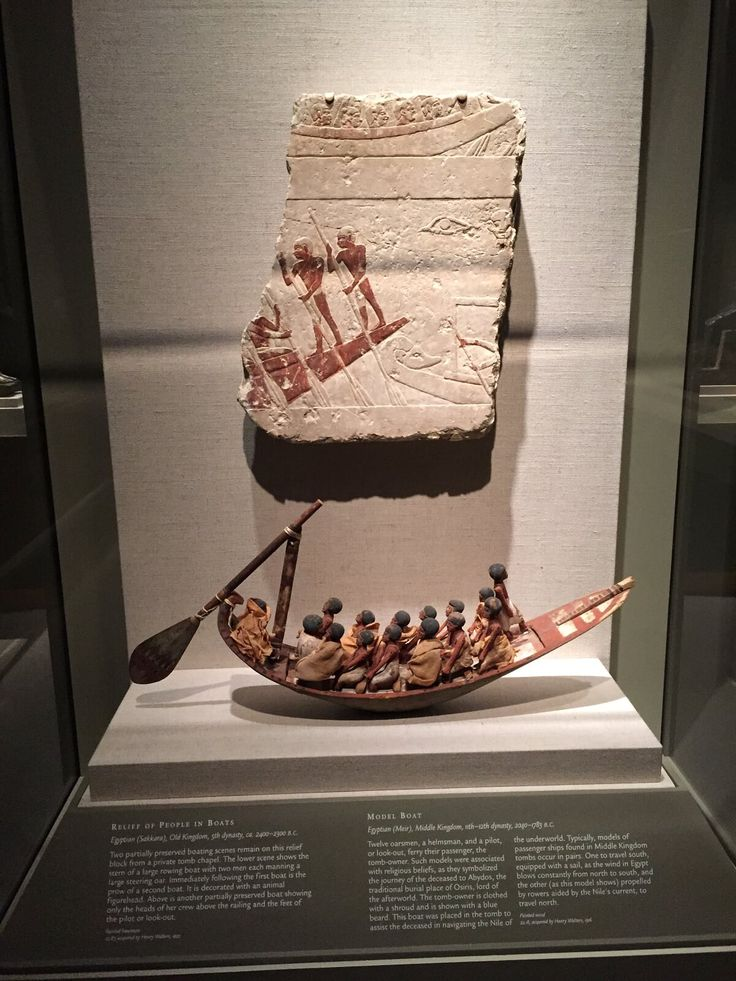 in this exhibit box are two examples of egyptian reed boats as depicted in art