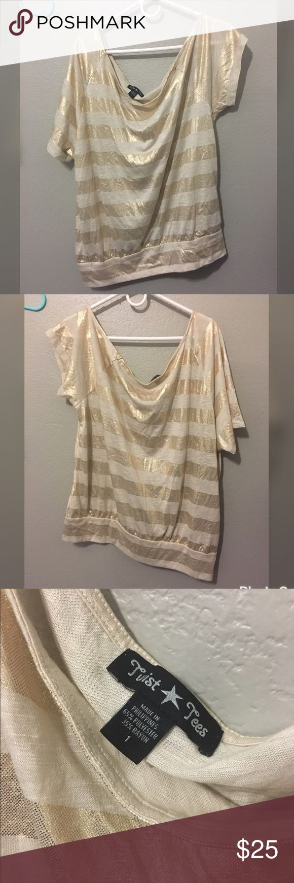 Off shoulder Torrid gold Tee size 1 Bu twist tees purchased from torrid size 1 fits true size and has gold striped detailing worn twice excellent condition torrid Tops