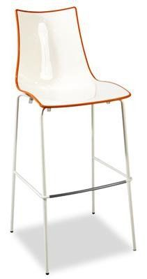 """Zebra"" Plastic Two-Colour High Bar Stool 80cm in White/Orange - AU$229 - https://www.simplybarstools.com.au/products/zebra-plastic-two-colour-high-bar-stool-80cm-in-white-orange – Simply Bar Stools - fixed leg, steel, bar height stools. #Australia #Furniture"
