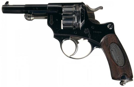MAS Mle1874 prix de tir revolver    Manufactured in France c.1885 as a reward for state-sponsored shooting competition by the Manufacture d'Armes de St-Etienne, issued instead at the beginning of WW1 - serial number N35858.  11mm73 six-round cylinder, double action, side loading gate with manual ejector rod, blank recipient grip medallion.