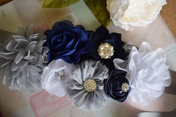 Navy Blue and Grey Maternity Belly Sash Blue and White