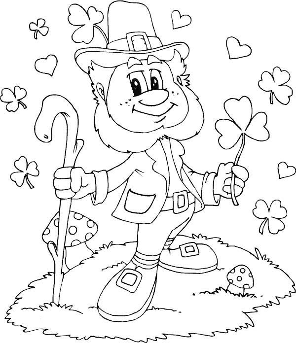 leprechaun with shamrocks everywhere coloring page kids