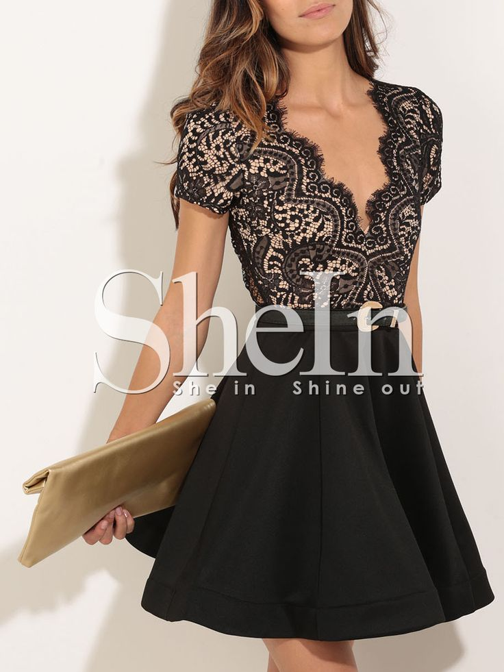 Black Short Sleeve With Lace Flare Dress 25.99